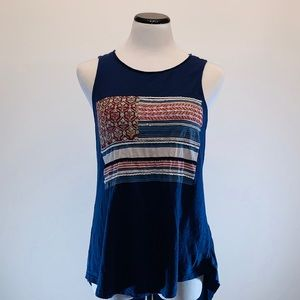 {Lucky Brand} Blue Embroidered Flag Tank Top Sz L